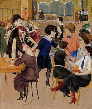 """""""Damenkneipe"""" of """"Damescafé"""", geschilderd door Rudolf Schlichter in 1923. In 1937 werden veel van zijn schilderijen door de nazi's vernietigd als zijnde """"ontaarde kunst""""."""