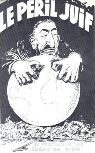 """Antisemitische cartoon waarin een Joodse man zijn nagels in een aardbol ingraaft. Onder de aardbol liggen allemaal lijken. Bovenaan staat in grote vette letters """"Het Joodse gevaar""""."""