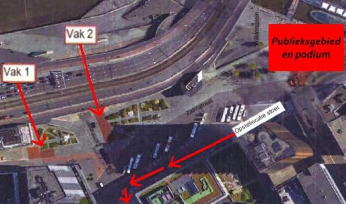 De locaties van de kooien waarin de politie de voor- en tegenstanders van het blackface-racisme wil opsluiten tijdens de optocht
