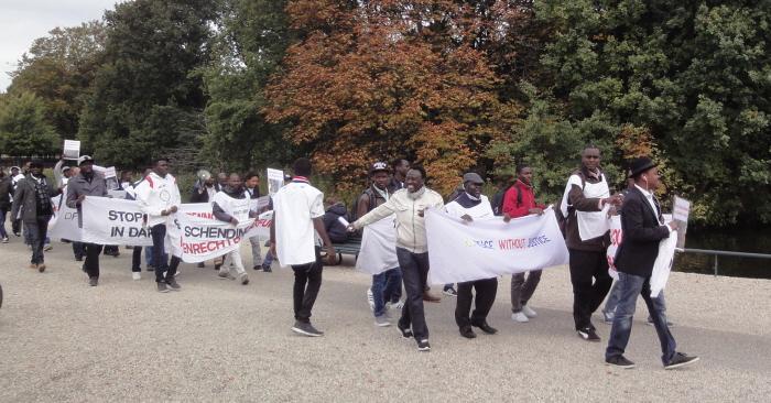Begin van de demonstratie bij de Koekamp (voor Den Haag CS).