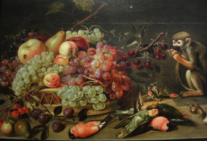 Schilderij van Clara Peters uit 1615-1620 met daarop Afrikaanse vogels, een Amerikaanse aap, druiven en perziken uit Europa en appels en peren uit Nederland.