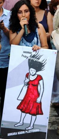 Protest tegen geweld tegen vrouwen in Ankara.