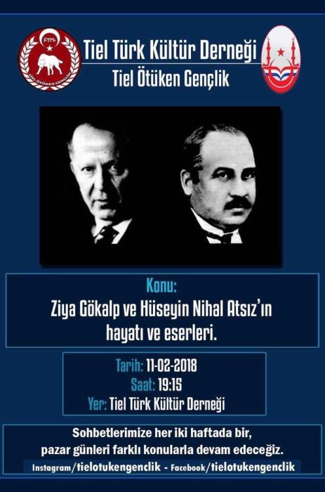 """Affiche van de Tielse HTF-afdeling, de Turkse Culturele Vereniging Tiel, voor een bijeenkomst op 11 februari over """"het leven en de werken"""" van Atsız (links) en Gökalp."""