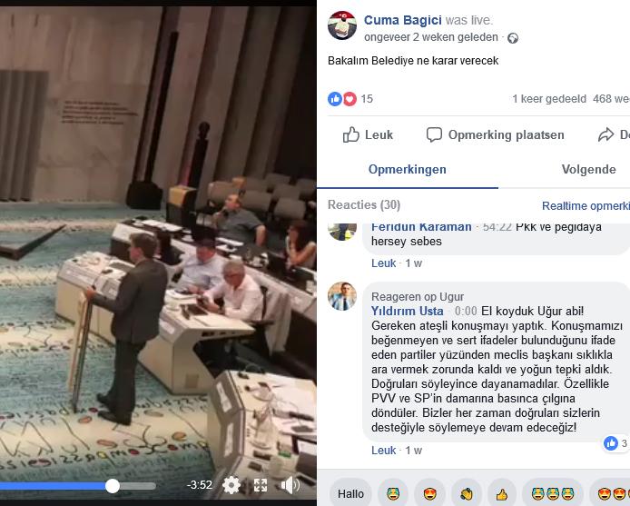 Bijdrage van Denk-raadslid Usta aan de livestream.