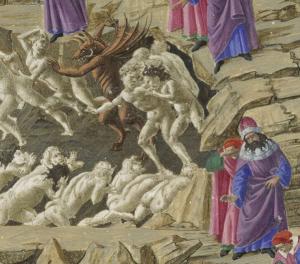 Deel van een afbeelding van het vagevuur door Sandro Botticelli.