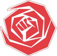 PvdA-logo met daarin de keiharde vuist van de migratiebeheersing.