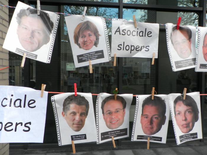 De tronies van de a-sociale slopers, met onder meer minister Dijsselbloem, wethouder Damen, dwangarbeiddirecteur Drooge, minister Asscher en staatsecretaris Klijnsma (goh, allemaal PvdA).
