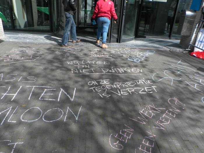 Ingang van het Werkplein na ons protest.