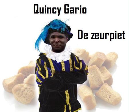 In de ogen van zijn trouwe fans is Zwarte Piet een minderwaardig soort mens, getuige ook dat ze hun tegenstander Gario in deze racistische spotprent als Zwarte Piet afbeelden.