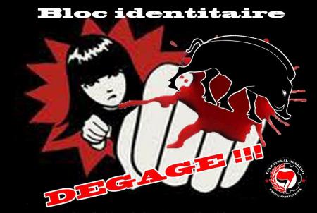 Rot op! Anti-fascistische sticker tegen het symbool van de Identitairen, een everzwijn