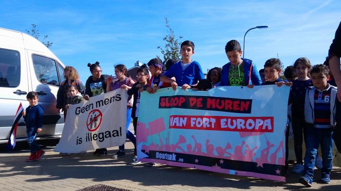 Kinderen voorop tijdens de demonstratie