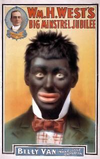Witte geschminkt als zwarte voor racistisch theater (VS begin 20e eeuw)