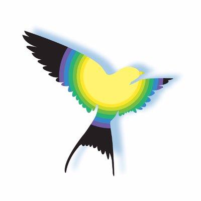 Logo bestaand uit een zwarte vogel (zwaluw?) met in het midden een cirkel bestaand uit verschillend gekleurde banden.